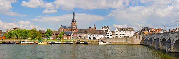 panorama of maastricht - maastricht stockfoto's en -beelden