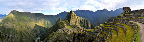 Panorama of Machu Picchu, lost Inca city in the Andes stock photo