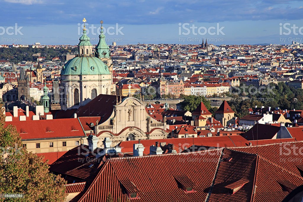 Panorama of Malostranske namesti, Prague Old Town with red roofs stock photo