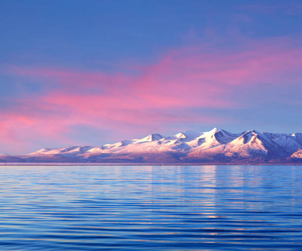 Panorama of Manasarovar lake, Western Tibet, China stock photo