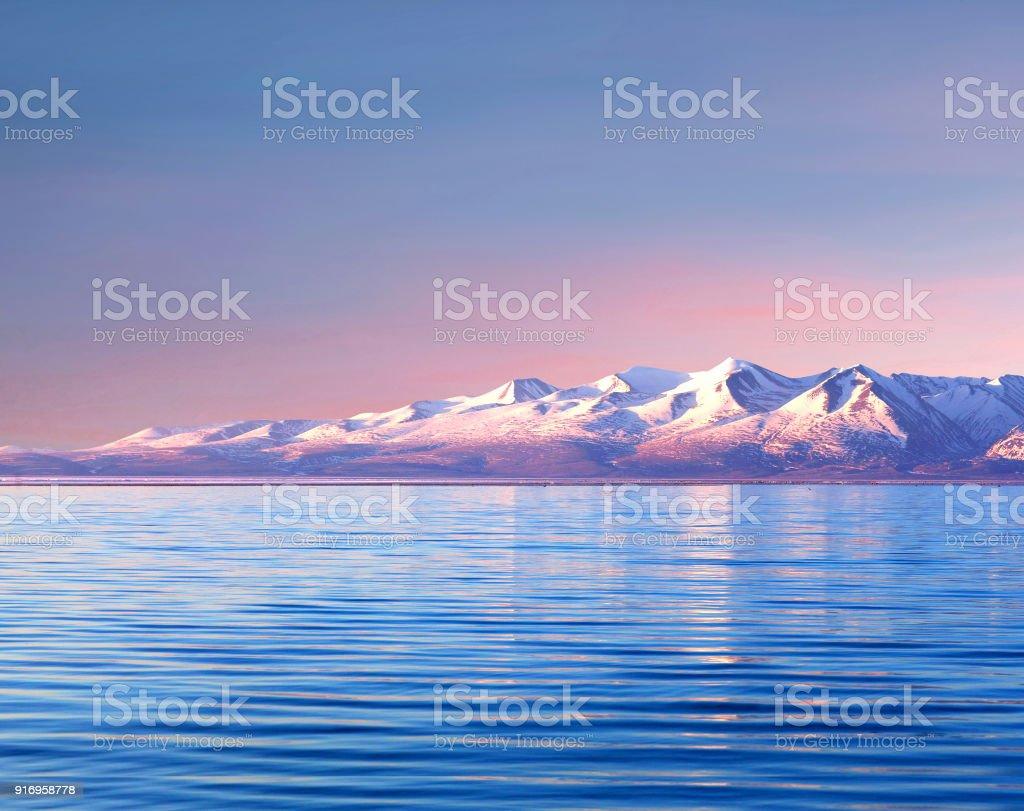 Panorama of Manasarovar lake, Western Tibet, China stock photo