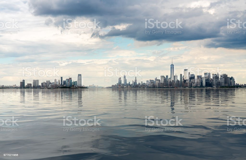 Panorama Of Manhattan And Jersey City With Artificial Water