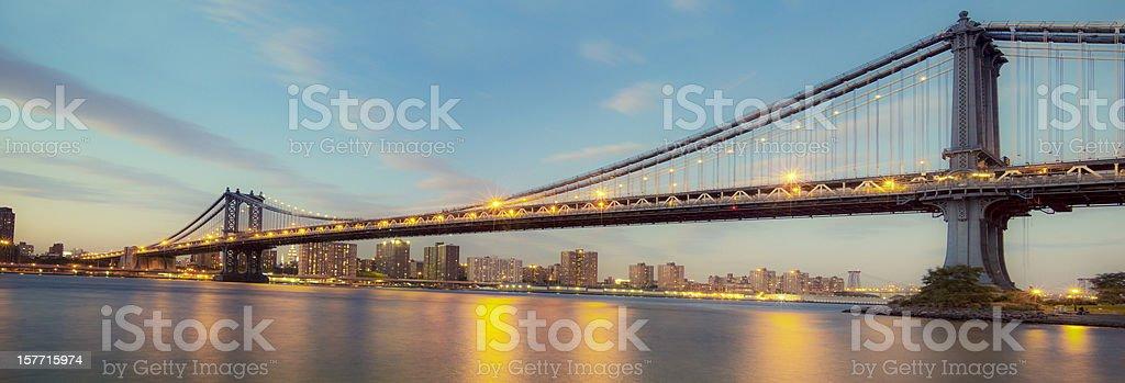 Panorama of Manhattan Bridge royalty-free stock photo