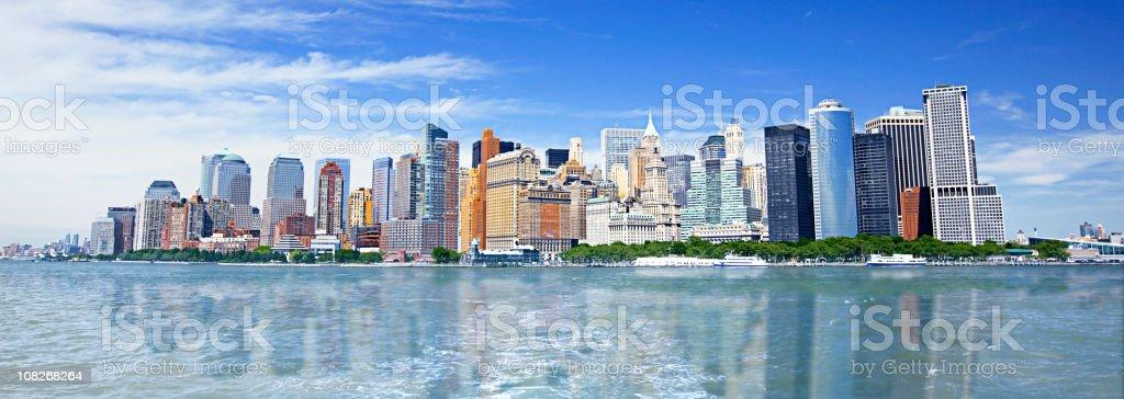 Panorama of Manhattan Skyline with Harbor royalty-free stock photo