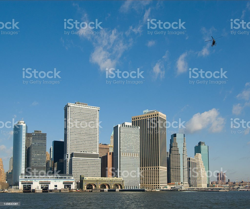 panorama of manhattan with flying helicopter, new york, usa royalty-free stock photo