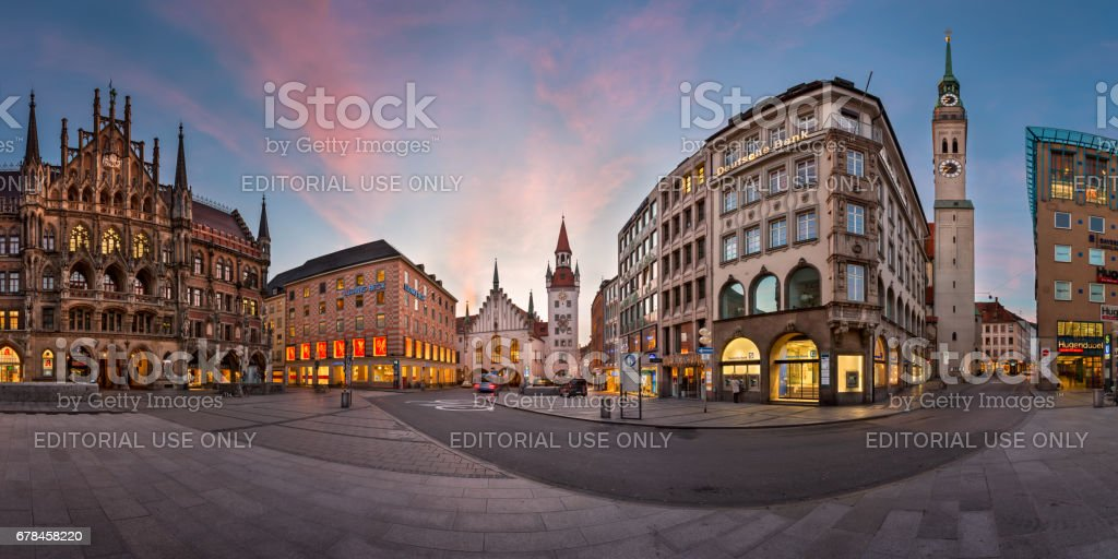 Panorama of Marienplatz in the Morning, Munich, Bavaria, Germany royalty-free stock photo