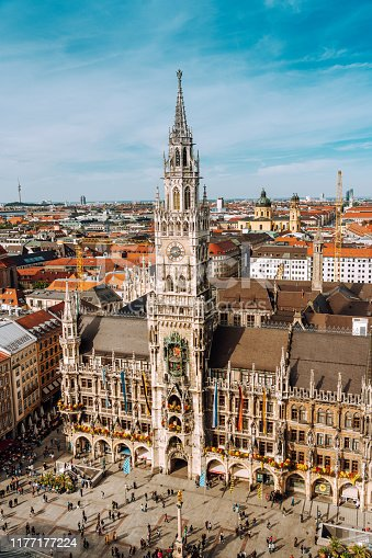 Panorama of Marienplatz square with New Town Hall