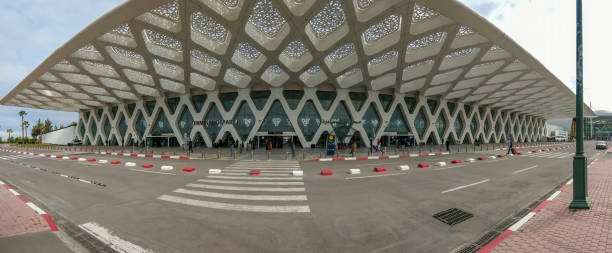 Panorama of Marrakesh Airport, Morocco stock photo