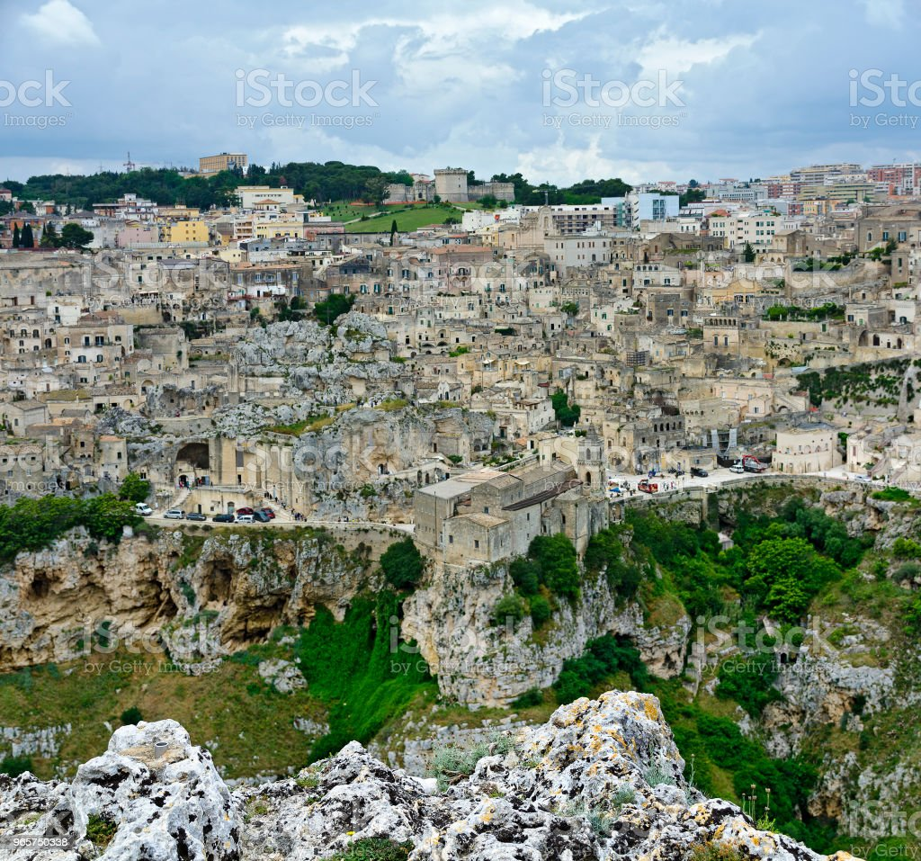 Panorama van Matera - Royalty-free 25 cent Stockfoto