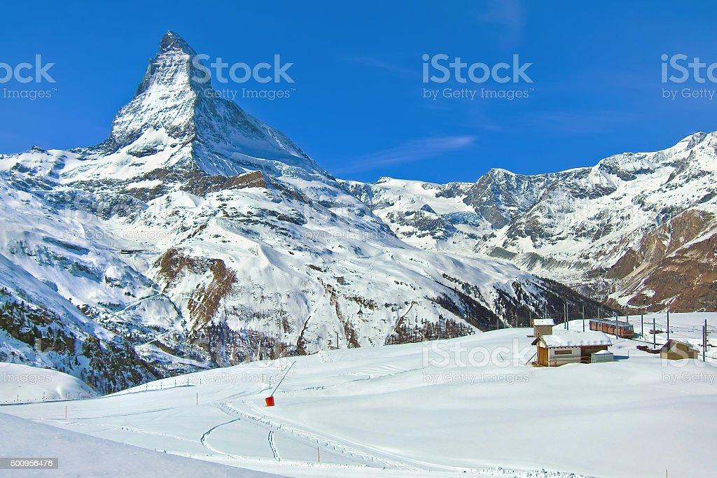 Panorama of Matterhorn in Swiss Alps stock photo