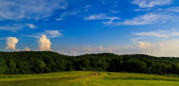 Panorama of meadows and mountains in Rensselaer County NY stock photo