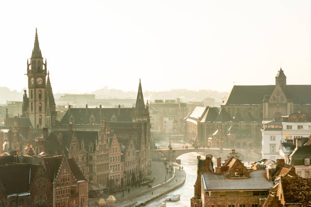 Panorama of medieval Ghent stock photo