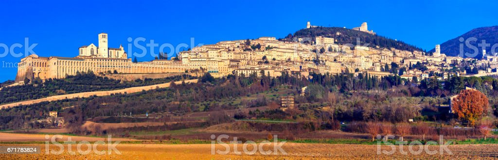 Panorama of medieval town Assisi - religious center of Umbria, Italy stock photo