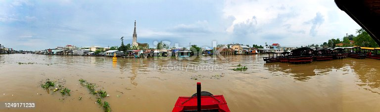 istock Panorama of Mekong River junction, Vietnam 1249171233