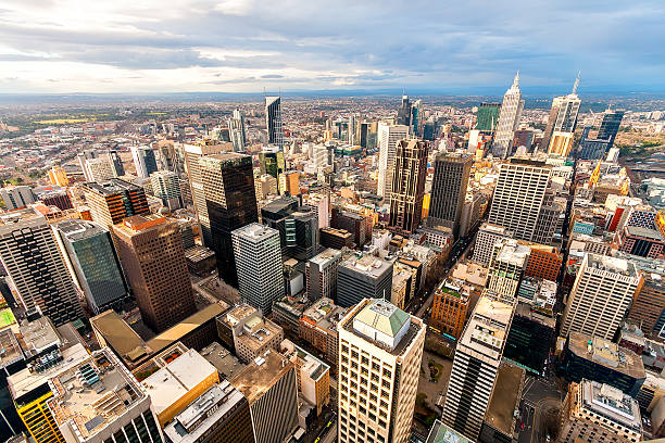Panorama of Melbourne's city center from a high point. Australia.