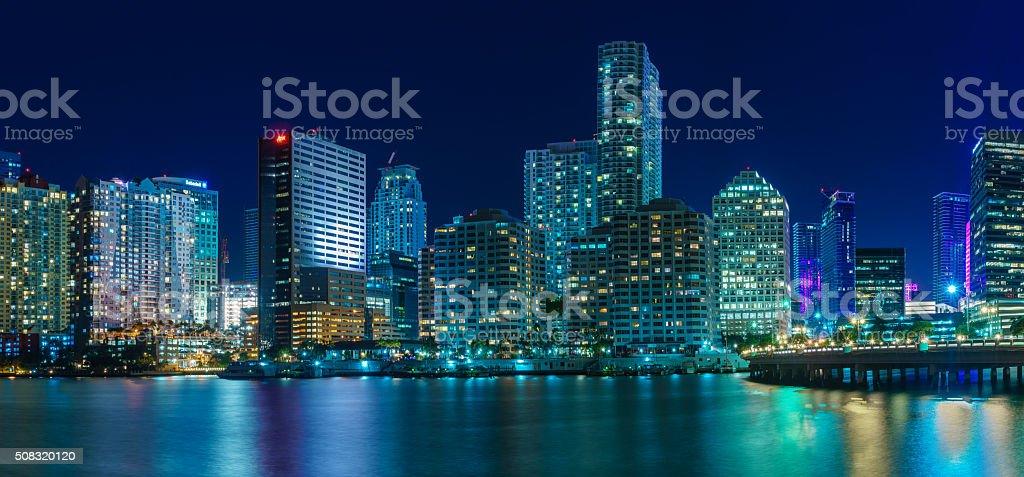 Panorama of Miami at night stock photo
