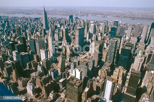 New York City, NS, USA, 1988.Cityscape of Midtown Manhattan.