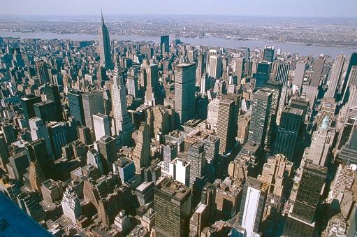 New York City, NS, USA, 1988.Cityscape of Midtown Manhattan.