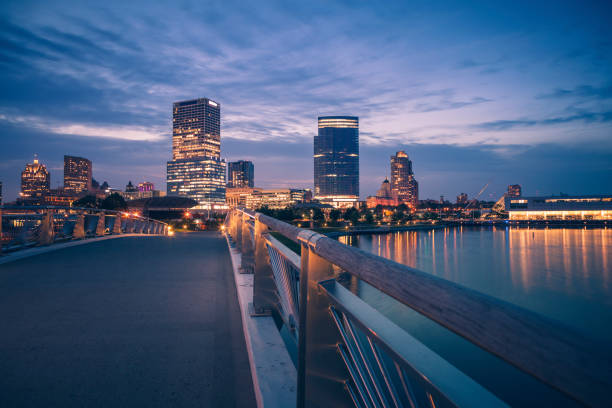 Panorama of Milwaukee at night Panorama of Milwaukee at night.  Milwaukee, Wisconsin, USA. milwaukee wisconsin stock pictures, royalty-free photos & images