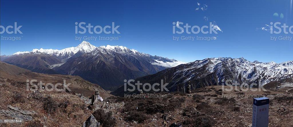 Panorama of Minya Konka range, Tibet, Sichuan, China stock photo