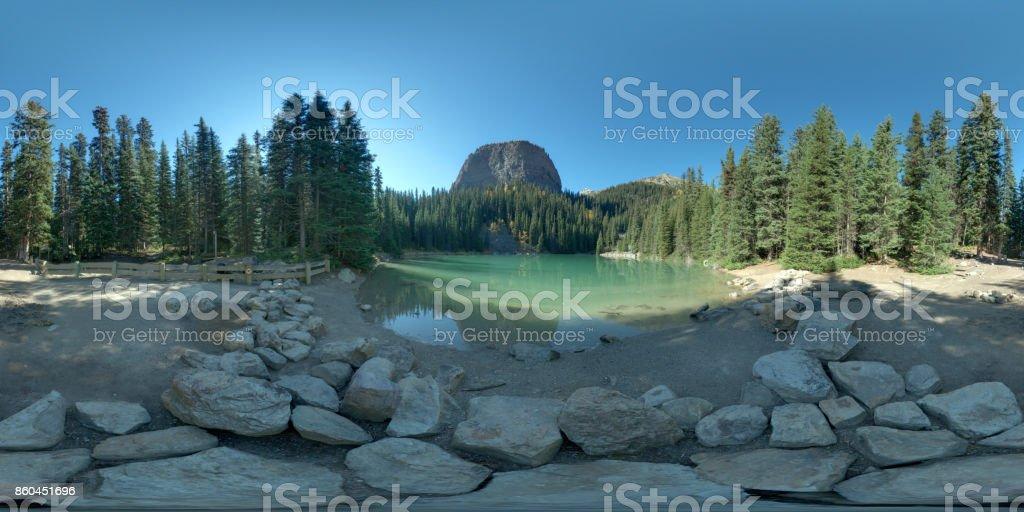 Panorama of Mirror lake, next to Lake Louise, Alberta, Canada, 2015 stock photo