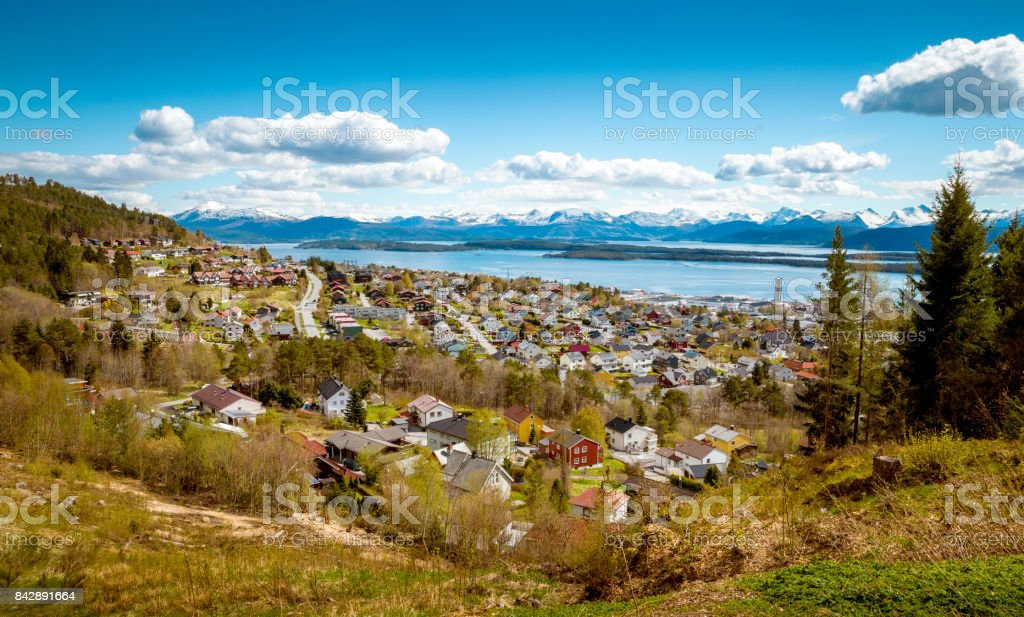 Panorama of Molde town, Norway stock photo