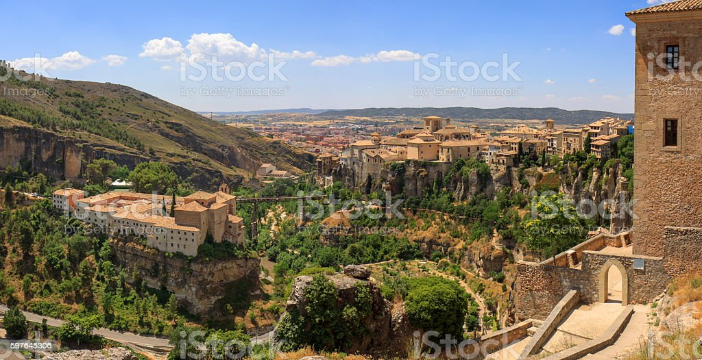 Panorama of monastry and old town of Cuenca, Spain stock photo