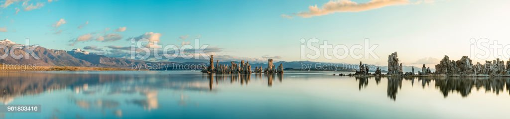 Panorama of Mono Lake at sunrise stock photo
