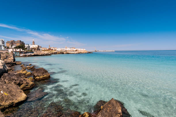 panorama of monopoli in metropolitan city of bari and region of apulia (puglia). on the background the cathedral of the madonna della madia - della stock pictures, royalty-free photos & images