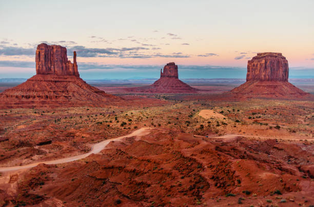 panorama of monument valley - native american reservation stock photos and pictures