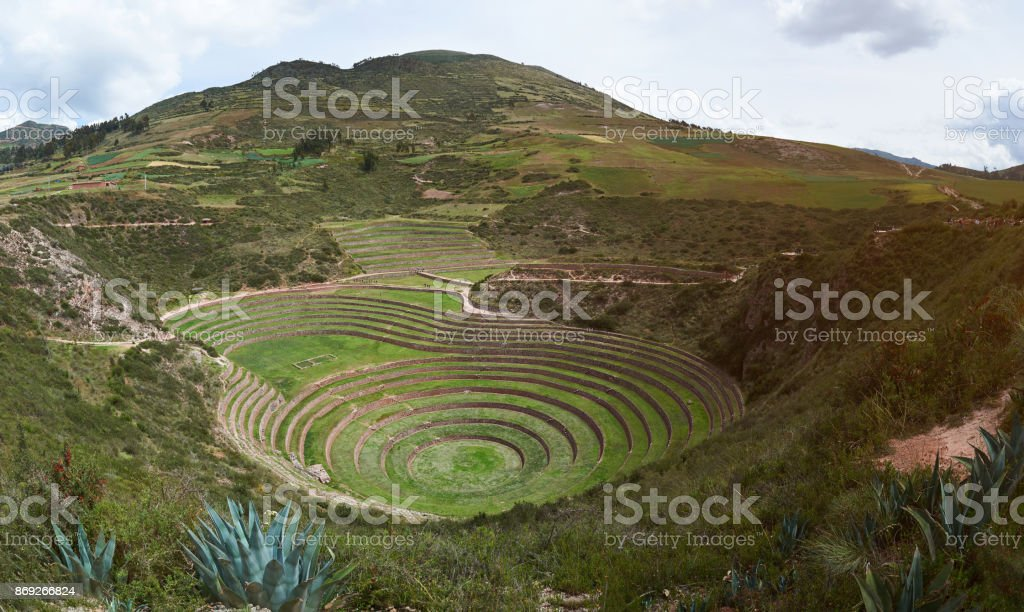 Panorama of moray sacred valley stock photo