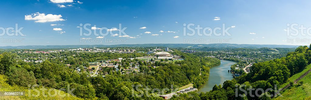 Panorama of Morgantown and WVU in West Virginia stock photo