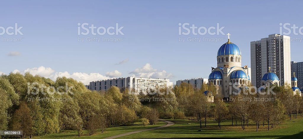 Panorama of Moscow district with church royalty-free stock photo