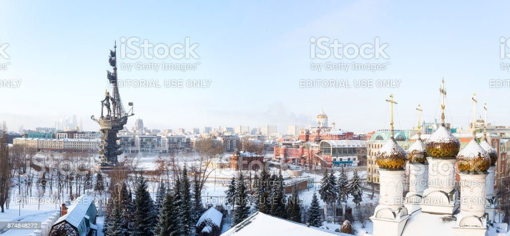 Panorama of Moscow downtown - International Business Center, Peter the Great Statue on the Moscow river (the eighth tallest statue in the world), Ministry of Foreign Affairs, athedral of Christ the Saviour, old confectionery and domes of an Orthodox churc stock photo