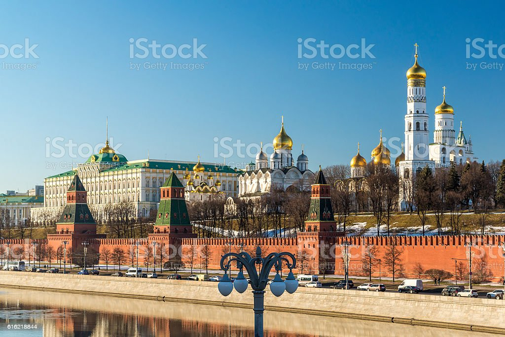Panorama of  Moscow Kremlin on  sunny day, Russia stock photo