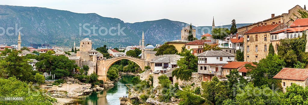 Panorama of Mostar old town - Herzegovina stock photo