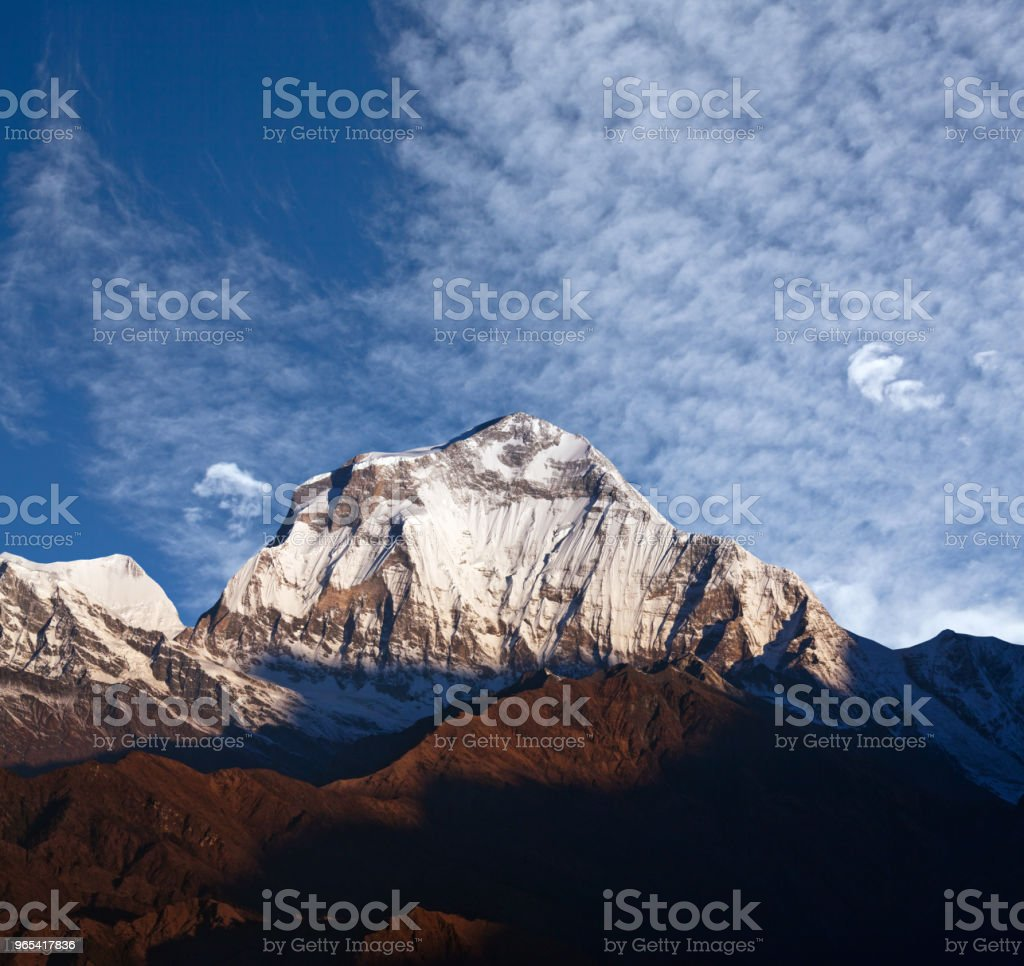 Panorama of mount Dhaulagiri in the Nepal Himalaya zbiór zdjęć royalty-free