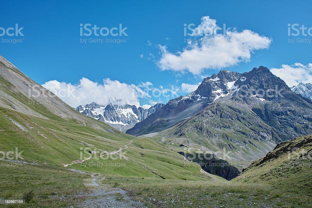 panorama of mountain in Alps Ecrins stock photo