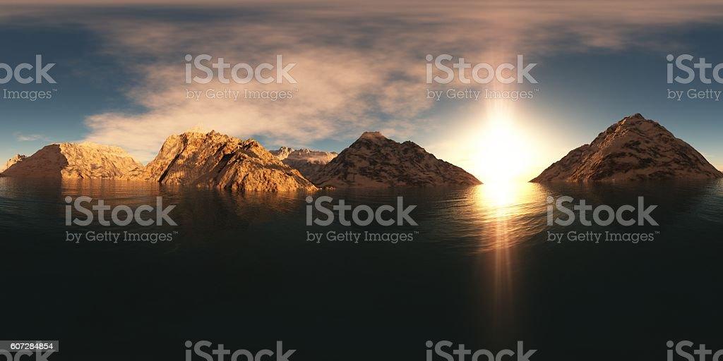 panorama of mountain lake at sunset stock photo