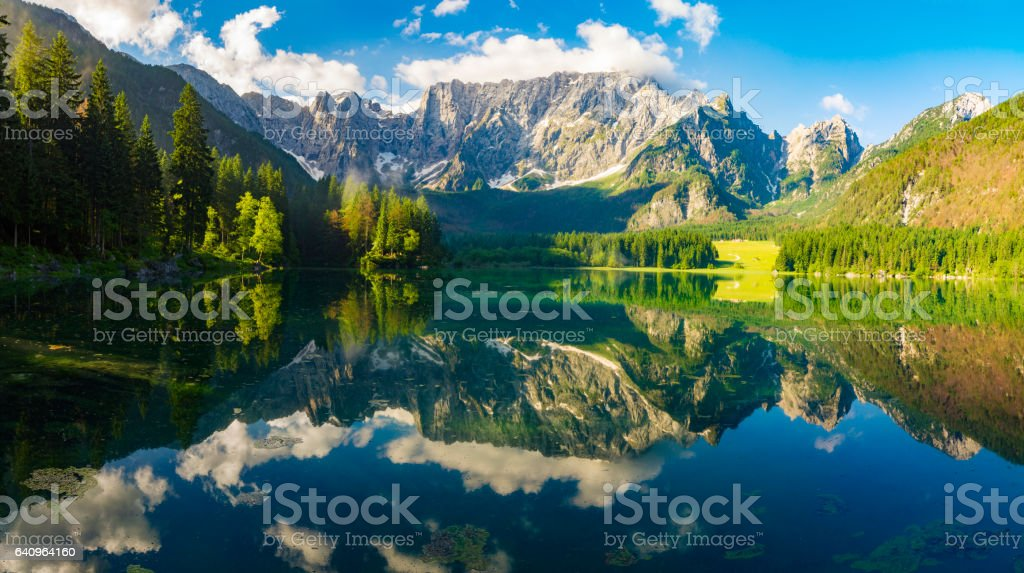 panorama of mountain lake in the morning stock photo