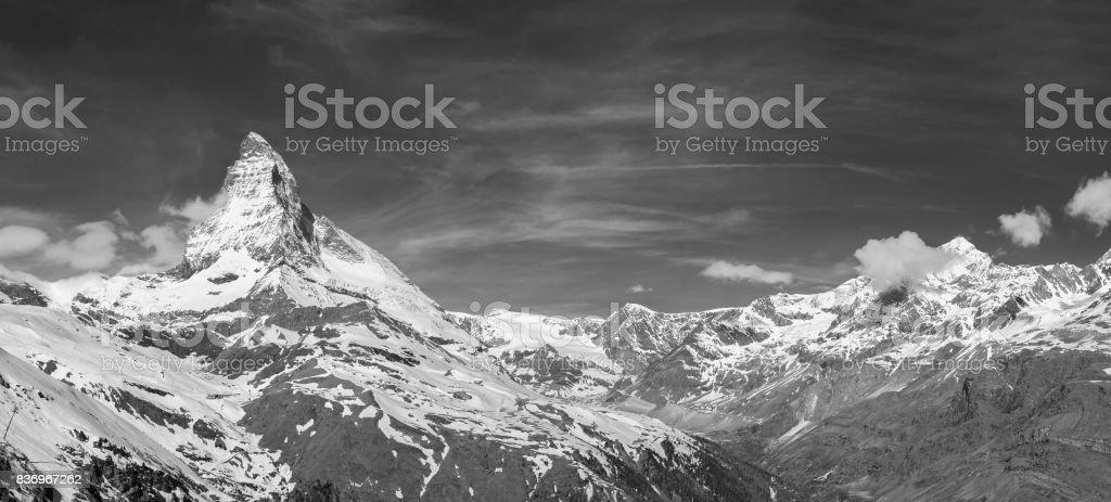 Panorama of Mountain Matterhorn stock photo