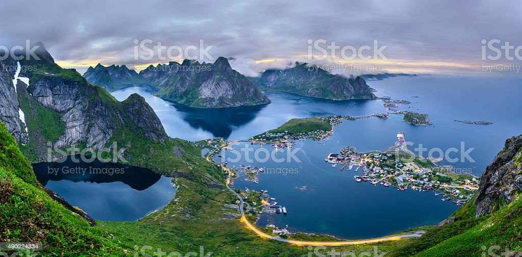 Panorama of  mountains and  Reine in Lofoten islands, Norway stock photo