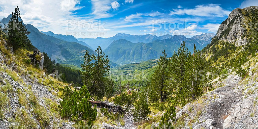 Panorama of mountains in the north of Albania stock photo