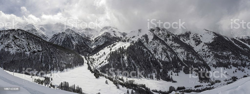 Panorama of Mountains in winter royalty-free stock photo