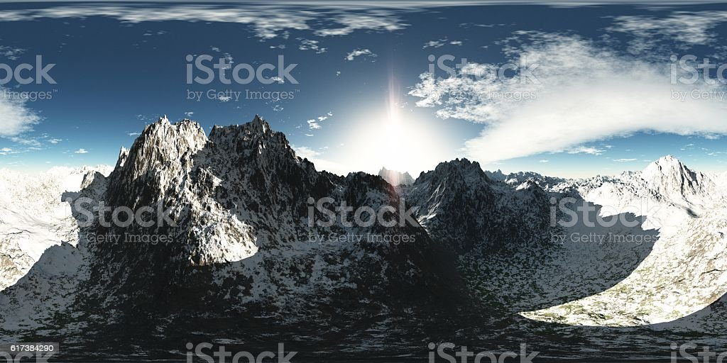 panorama of mountains. made with the one 360 degree lense stock photo
