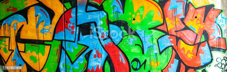 Panorama of Multicolored Graffiti on Wall.