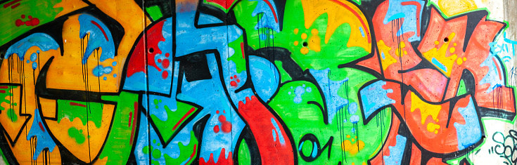 Panorama of Multicolored Graffiti on Wall
