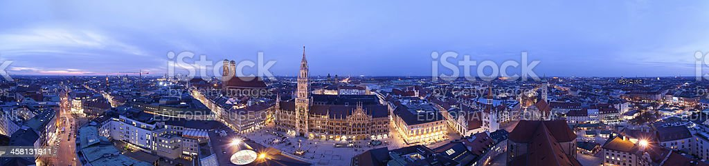Panorama of Munich at the evening stock photo