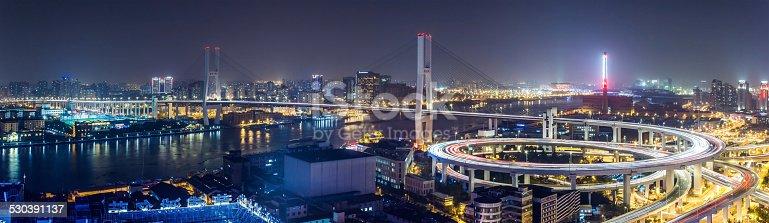 544101220 istock photo Panorama of Nanpu Bridge at Night 530391137
