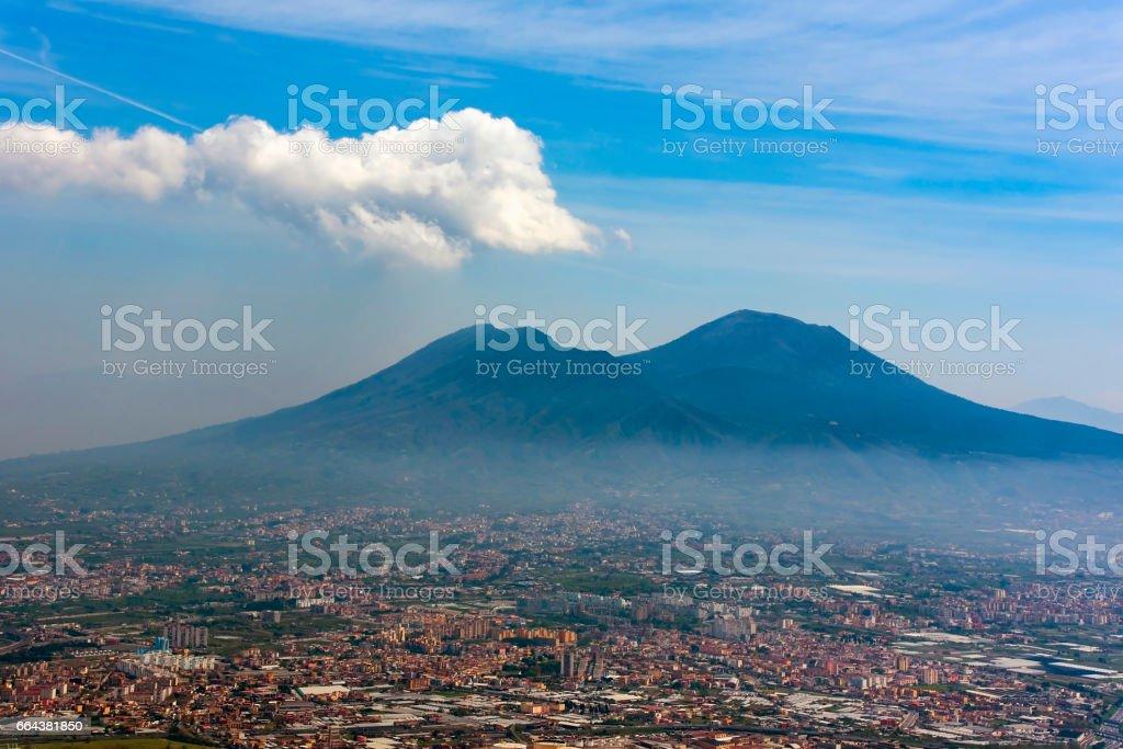 Panorama of Naples and mount Vesuvius, Italy stock photo